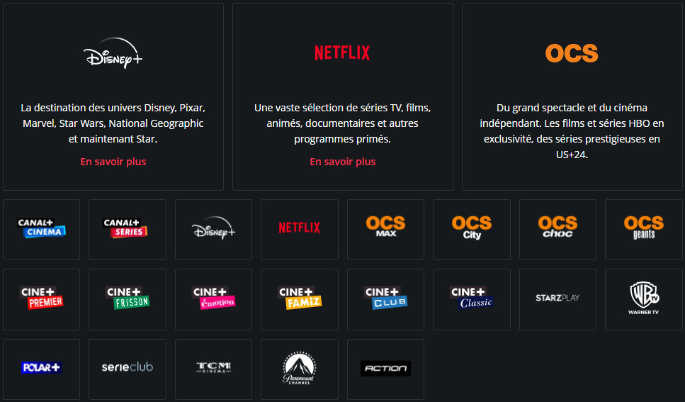 Netflix et Disney+ dans le pack cine series de canal plus