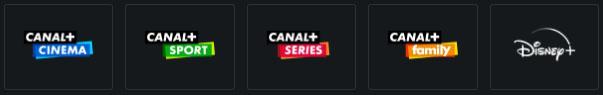 Les chaines canal incluses dans l'abonnement