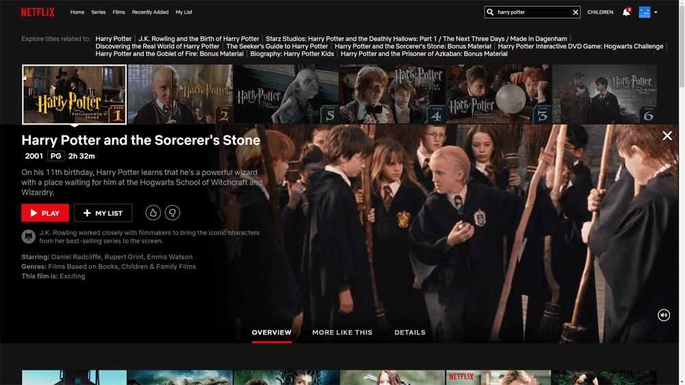 harry potter est sur Netflix